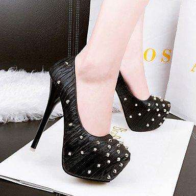 Moda Donna Sandali Sexy donna tacchi Primavera / Estate / Autunno / Inverno Comfort / Round Toe / punta chiusa Casual Stiletto Heel rivetto Black
