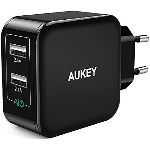 AUKEY Caricabatteria da Muro di 2 Porte 24W 4,8A (2,4A+2,4A) con AiPower per Apple iPhone 7 / 7 Plus / 6s / 6s Plus / 6 / 6 Plus / 5s, iPad, Samsung Galaxy S6 / Note 5, HTC, SONY, Huawei, Xiaomi, Smartphone e Tablet e altri Dispositivi USB con l'Input di 5V (Nero) - Email Certificato