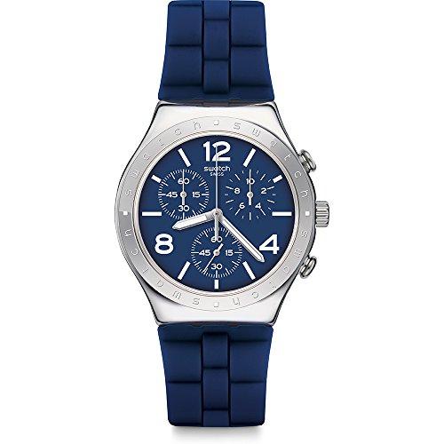 Orologio Swatch Irony Chrono YCS115 Al quarzo (batteria) Acciaio Quandrante Blu Cinturino Silicone