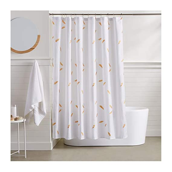 AmazonBasics Gold Foil Feathers Shower Curtain