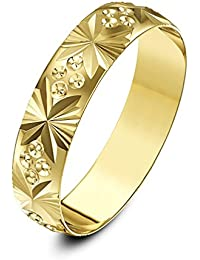 Theia Unisex Heavy Weight D Shape Fan and Circle Design 5 mm 9 ct Gold Wedding Ring