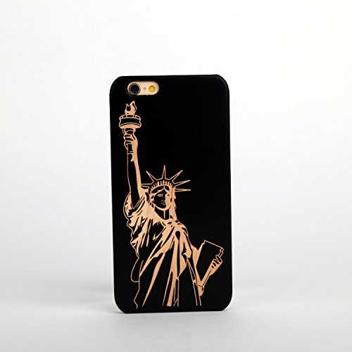 New Creative Wooden & PC hard case for Apple iPhone 5/5S/5SE LAS VEGAS STATUE OF LIBERTY