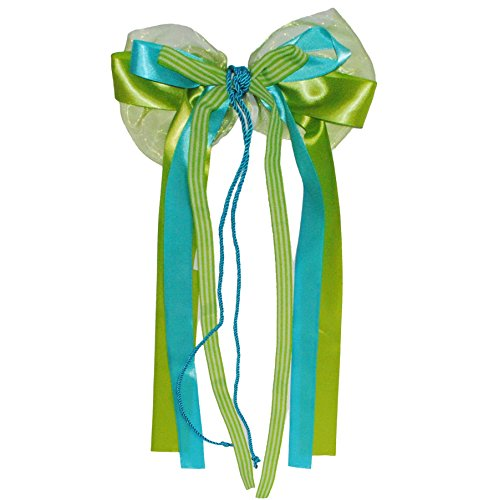 Unbekannt große 3-D Schleife - 23 cm breit u. 60 cm lang - Geschenkschleife / Geschenkband mit edlen Satin Bändern, Chiffon & Kordel - grün / türkis blau / weiß - für G.. Chiffon-band