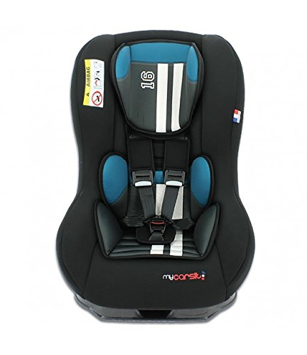 mycarsit Autositz, Gruppe 0+/1(von 0bis 18kg), Motiv Petroleumofen schwarz Mustang