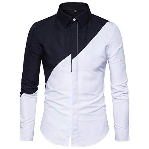 Honestyi Herren Langarm Shirt Longsleeve Slim Fit Shirt Leicht Oversize Basic Sweatshirt in Vielen Farben Langarm Oxford Formelle beiläufige Anzüge Slim Fit T-Shirt Hemden Bluse