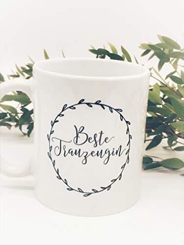 Great Stuff Tasse Beste Trauzeugin der Welt Blumenkranz schwarz Vintage Boho Danke Dankeschön Hochzeit JGA Bridesmaid BFF Beste Freundin Geschenk Idee (Boho Ideen Hochzeit)
