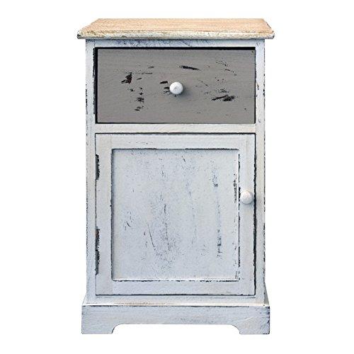 Rebecca srl mobile bagno armadietto comodino 1 cassetto 1 anta legno paulownia beige bianco vintage camera da letto bagno (cod. re4478)