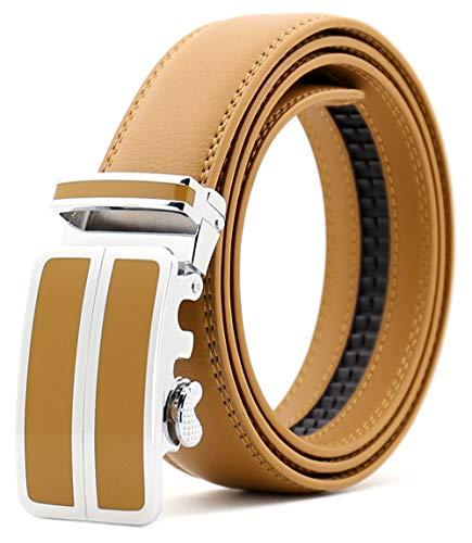 ITIEZY Automatik Gürtel Herren Designer Lederguertel Schnalle Herren, Gelb 1, Länge: Bis zu 49,2 inches(125cm)
