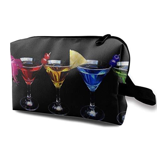 With Wristlet Kosmetiktaschen Cocktail With Alcohol Travel Portable Makeup Bag Zipper Wallet Hangbag hanging toiletry bag Lip-cocktail-set