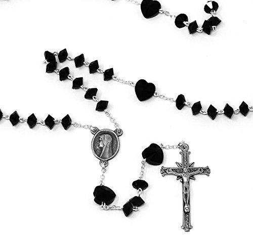 td Echtem Herz Swarovski Kristall Rosenkranz Perlen-925Silber Lourdes katholischen Rosenkranz, mit Zertifikat der Authentifizierung & Lourdes Gebet Karte ()