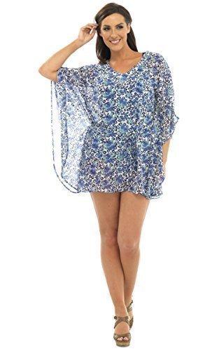 Damen - Sommer Kaftan Bluse Blumen Leopardenmuster - Blau, (Urlaub Schwimmen Kostüme)