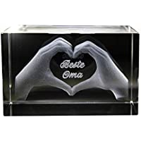 Beste Tante! 3D Glas Kristall Quader I Herz aus Händen mit Gravur I Text