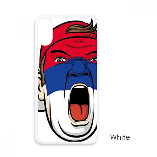Serbien Flagge Gesicht Make-up Maske Screaming Gap für iPhone X Hüllen weiß Phonecase Apple Schutzhülle Geschenk