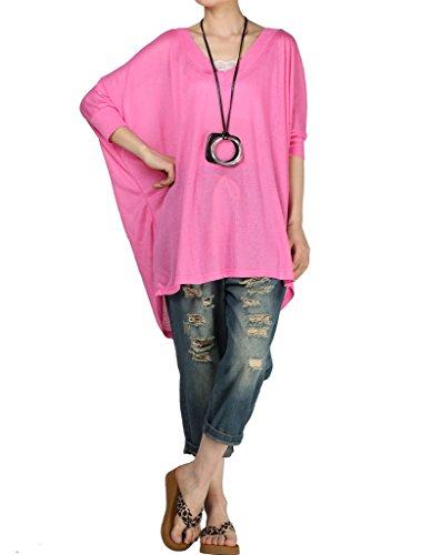 Vostyle Femme T-shirt Rayé Ample Aérée chauve-souris avec Manche de Chauve-souris Rose