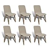 6xStühle Stuhl Stuhlgruppe Hochlehner Esszimmerstühle Esszimmerstuhl Beige Eiche