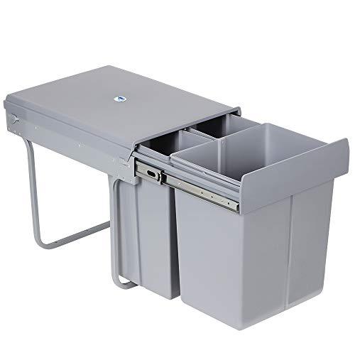 LENTIA Abfallsammler Abfalleimer Küchen Mülleimer Mülltrennsystem aus ABS Abfallbehälter Schrankbodenmontage 40L(20L+10L+10L)