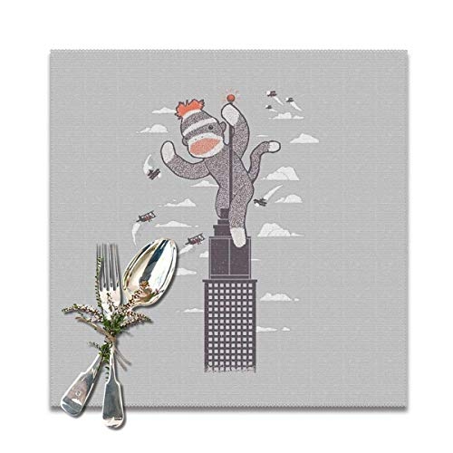 Aeykis Sock Monkey Just Wants A Friend Placemats for Dining Table,Washable Placemat Set of 6, 12x12 inch