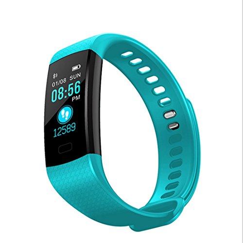 HDWY Smart Armband mit Farbbildschirm Schrittzähler Kalorien Schlaf Monitor Entfernung Sportuhr Walking Lauf App für Frau und Mann (Farbe : Blue2)