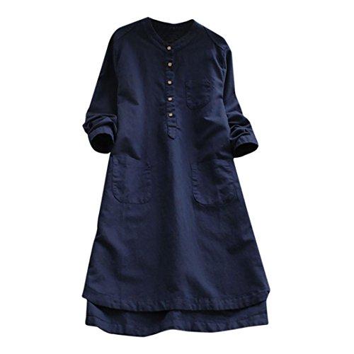 TUDUZ Damen Retro Beiläufige Lose Langarm Boho Minishirt Kleid mit Knopf Abendkleid Casualkleid...
