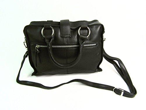 63dfe36a248fa ... Damen Designer Super Weich Premium Leder Handtasche Schulter  Umhängetasche Schwarz
