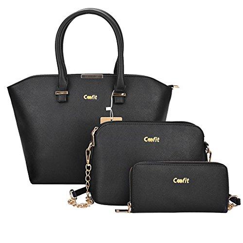 Handtasche Damen,COOFIT Damen Handtasche Frauen Leder Handtasche Henkeltasche Schultertasche Umhängetasche Messenger Bag (3 Teiliges Schwarz)