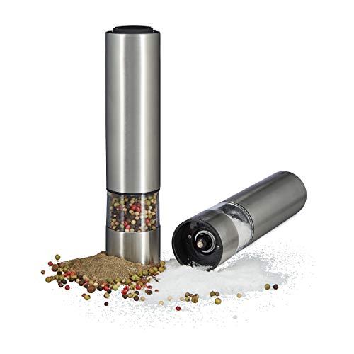 Relaxdays 10020598 macina-pepe elettrico set da 2 con luce trita-sale e pepe acciaio inox macinino in ceramica a batteria argento