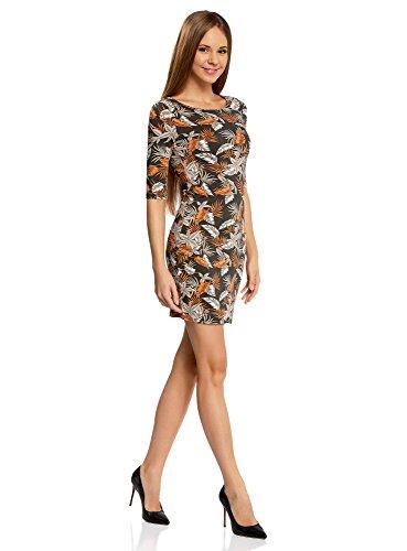 oodji Ultra Damen Enges Jersey-Kleid Mehrfarbig (6855F)