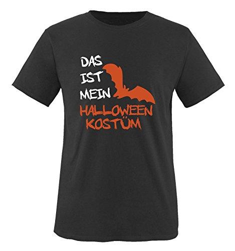 Comedy Shirts - DAS IST MEIN HALLOWEEN KOSTÜM VAMPIR - Herren T-Shirt Schwarz / Weiss-Orange Gr. XXL