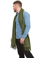Grande écharpe 'Shoreditch' tissée à la main en laine mérinos, Vert