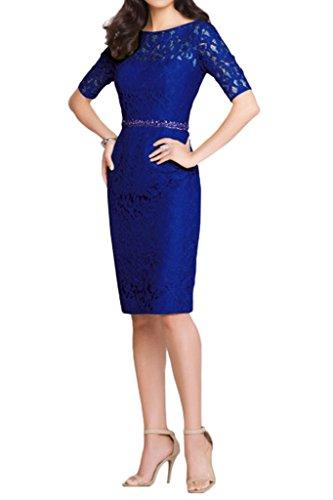 Victory Bridal 2016 Neu Royal Blau Spitze Langarm Abendkleider Ballkleider Brautmutter Knie-lang Royal Blau
