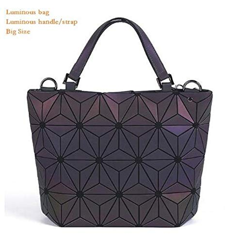 enlOWJ women's geometric lattice tote bag High Quilted Chain Shoulder Bags Laser Plain Folding Handbags,luminous big