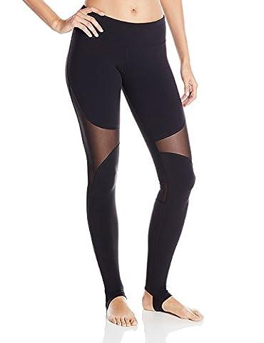 DeepTwist Womens Mesh Yoga Pants Stirrup Leggings Active Gym Fitness Workout Running Tights Black, UK-DT4007-Black-6