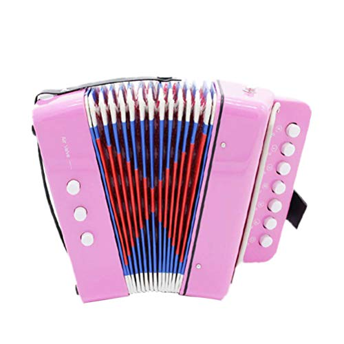 TOYANDONA Akkordeon Kinder Akkordeon Musical Spielzeug Mini Kleines Akkordeon Pädagogisches Musikinstrument für Kind Kind Frühkindliche Lehre (Rosa)