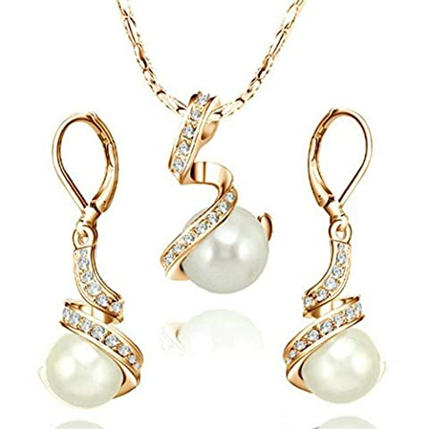 Yoursfs Vintage Pearl Jewellery Set of Necklace and Earrings Sets for Women 18ct Rose Gold Plated Fashion Girls Evening Prom Party Gift - Nonna Bracciale Perle D'argento Bracciale Perle