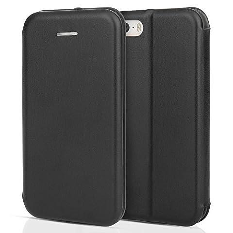 Coque Centopi iPhone 5 / 5S / SE – Etui Mince En Cuir Avec Fentes ID / Cartes – Housse Portefeuille Folio Avec Stand