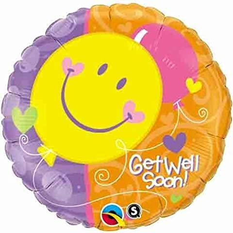 Pioneer Balloon Company Get Well Soon Smile Face Balloon, 18, Multicolor by Pioneer Balloon Company