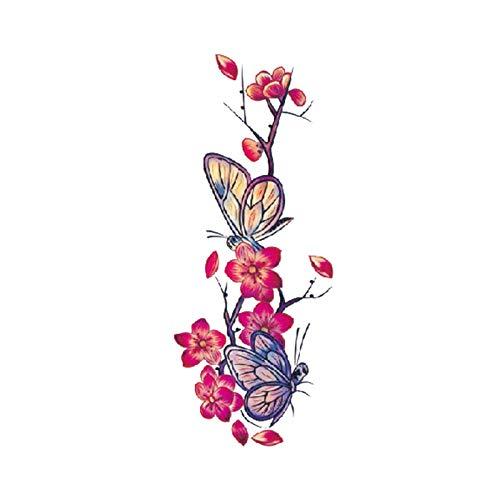 Ratchet Kostüm - Blume Tattoo Sticker Damen Brust Bauch Kostüm Studio Rose Pfirsich Pfingstrose Tattoo Sticker 3Pcs-7 90 * 190MM