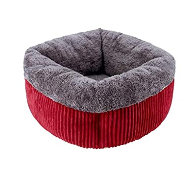 CZWYF Pet Bed,Pet Dog Lounge Sofa | Small Dogs Cats Square Nest Bed Soft Cushion Couch Sleeping Mat Pad Comfy Warm Puppy Kitten Cave House/Red/Two Sizes from CZWYF