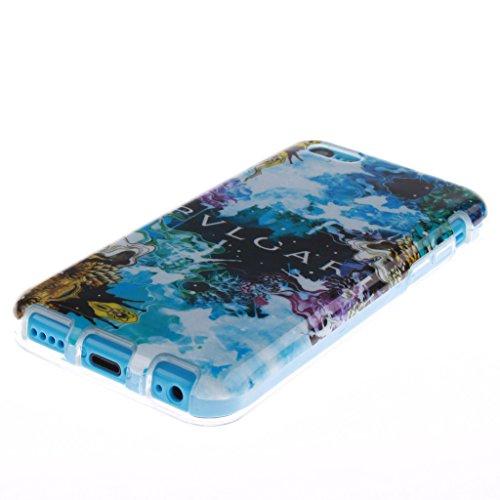 """SsHhUu iPhone 5c Coque, Personality Animal Ultra Slim Doux TPU Flexible Durable Gel Silicone Protecteur Rear Skin Painting Art Étui Housse Case Cover Pour Apple iPhone 5c 4.0"""" Patterns colorés"""