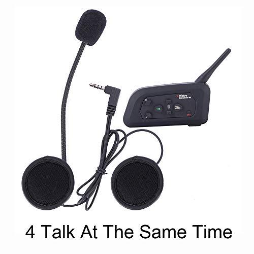 V4 Intercomunicador Bluetooth Motocicletas,Intercomunicador de Casco,Casco Auriculares para Montar a Caballo/Esquí/Moto de Nieve/Scooter/MTB,4Corredor Intercom simultanés/FM Radio/Rango 1200m(1 pack)