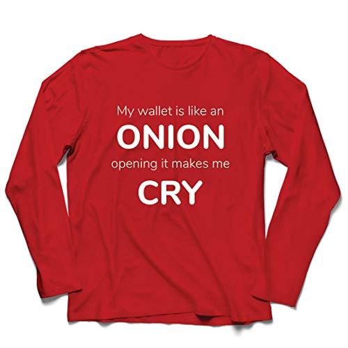 lepni.me Herren T Shirts Meine Brieftasche ist wie eine Zwiebel, Kein Geld Lustiger Job, Büro-Humor (Medium Rot Mehrfarben)
