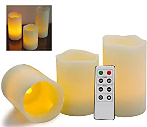 Kerzen mit Fernbedienung 3er Pack - Fantastische Kerzen ohne Flamme mit Fernbedienung + Timer Funktion