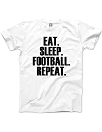 HotScamp Eat Sleep Football repeat Childrens T Shirt Footballer Training Club Gift All Colours and Sizes Age 3 - Age 13 Tee Kids T-Shirt