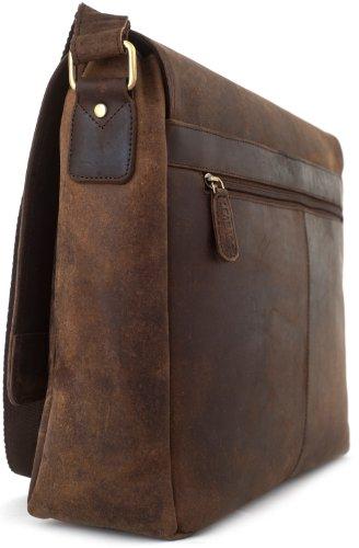 LEABAGS Oxford Umhängetasche aus echtem Büffel-Leder im Vintage Look - Muskat Muskat