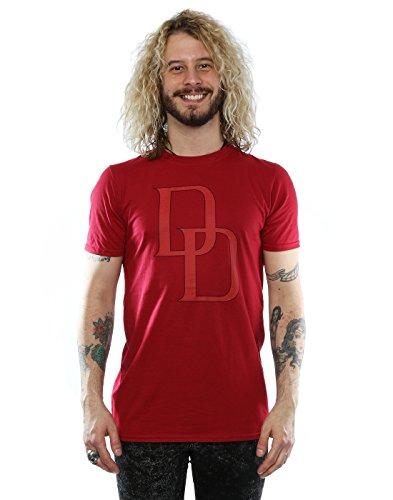Marvel Herren Daredevil DD Logo T-Shirt Large Kardinal (Rot Tee Kardinal)