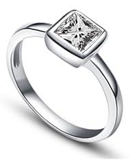 MARENJA Argent-Bague Solitaire Femme-Princesse-Argent fin 925/1000-Oxyde de Zirconium-Bijoux Mariage/Fiançailles