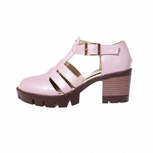 Mee Shoes Damen modern bequem populär dicker Absatz Schnalle Knöchelriemchen Geschlossen runde atmungsaktiv Plateau Pumps Pink