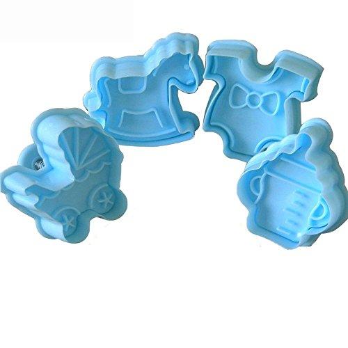 Foviuppet, 4 Stück Babykeks-Ausstechformen, Kunststoff, Fondant, Kuchen, Dekorieren, Formen, tolle Zuckergussformen, Backzubehör
