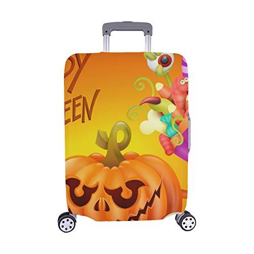 (Happy Halloween Konzept Karte Kürbis Scary Spandex Staubschutz Trolley Protector case Reisegepäck Beschützer Koffer Abdeckung 28,5 X 20,5 Zoll)