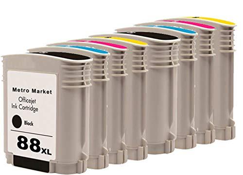 Metro Market 8 Piezas per HP 88 Cartuchos de Tinta Compatible Officejet Pro K5400 K550 K550DTWN L7500 L7580 L7600 L7680 L7700 L7780 K5300 K5400N K5400TN K5456 K5456DN K8600 K8600DN L7400 L7480 L7580